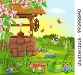 wishing well in the spring | Shutterstock .eps vector #99398840