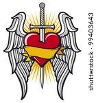 heart  sword and wings | Shutterstock . vector #99403643