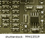 grunge close up of computer chip | Shutterstock . vector #99413519