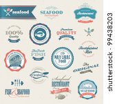 seafood labels and elements | Shutterstock .eps vector #99438203