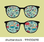 retro sunglasses with people... | Shutterstock .eps vector #99450698