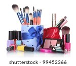 make up brushes in cup and... | Shutterstock . vector #99452366