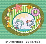 boy and girl  surrounded by the ... | Shutterstock .eps vector #99457586