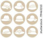 A Set Of 9 Elegant Female Hats...