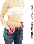 slim waist with a tape measure... | Shutterstock . vector #99470468