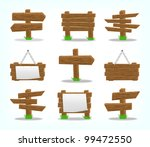 wooden signs set  10eps. | Shutterstock .eps vector #99472550