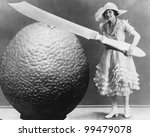 woman with huge knife and piece ... | Shutterstock . vector #99479078