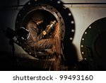 man with a metal grinder... | Shutterstock . vector #99493160