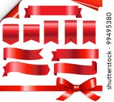 big red ribbons set  isolated... | Shutterstock . vector #99495380