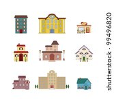 cartoon isolated buildings | Shutterstock .eps vector #99496820