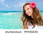 beautiful girl in tropical... | Shutterstock . vector #99540650