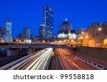 Downtown Boston, Massachusetts viewed from above Massachusetts Turnpike. - stock photo