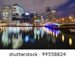 Financial District of Boston, Massachusetts viewed from harborwalk. - stock photo