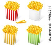 French fries in a multi-colored striped packaging. Illustration on white background - stock vector