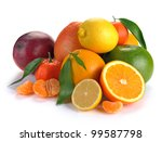 Set Of Citrus  Fruits On White...