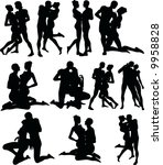 sexy couple silouettes | Shutterstock .eps vector #9958828