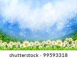 green field with daisy flowers... | Shutterstock . vector #99593318