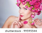 beautiful woman with rose... | Shutterstock . vector #99595544