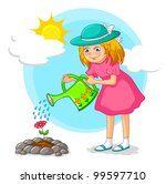 girl watering a flower in the... | Shutterstock .eps vector #99597710