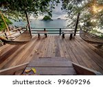 private terrace with hammocks... | Shutterstock . vector #99609296