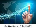 hand point to lighting report... | Shutterstock . vector #99616619