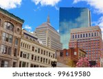 Cityscape in Back Bay Boston, Massachusetts, USA. - stock photo