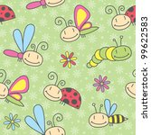 Cartoon Insects Seamless Pattern