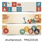 set of retro summer horizontal... | Shutterstock .eps vector #99623318