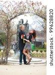 dating couple hugging under... | Shutterstock . vector #99628820