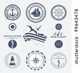 set of vintage retro nautical... | Shutterstock .eps vector #99643478