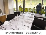 GDANSK, POLAND - FEBRUARY 4: VIP box with luxury table of PGE Arena stadium. The stadium was built specifically for the Euro 2012 Championship. February 4, 2012 in Gdansk, Poland. - stock photo