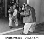chimpanzee in a jacket and... | Shutterstock . vector #99664574