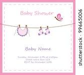 baby girl shower invitation | Shutterstock .eps vector #99665006