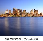 Boston, Massachusetts Financial District Skyline. - stock photo