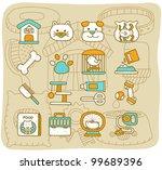 Stock vector mocha series pet animals icon set 99689396