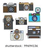 set of vintage cartoon cameras | Shutterstock .eps vector #99694136