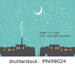 nighttime cityscape with stars... | Shutterstock .eps vector #99698024
