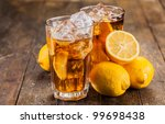 Lemon Ice Tea On Brown Wooden...