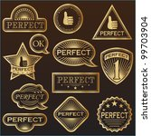 gold labels 'perfect'. everyone ... | Shutterstock .eps vector #99703904