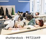 large group of sleeping students | Shutterstock . vector #99721649
