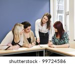 four girls groupwork in the... | Shutterstock . vector #99724586