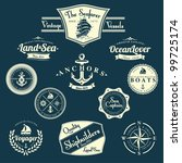 set of vintage retro nautical... | Shutterstock .eps vector #99725174