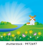 rural background with windmill | Shutterstock .eps vector #9972697