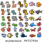 big set of cartoon animals and... | Shutterstock .eps vector #99727934