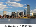 The cityscape of Back Bay Boston, Massachusetts, USA from across the Charles River. - stock photo