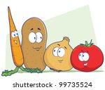 vegetable cartoon characters | Shutterstock .eps vector #99735524
