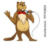 funny beaver isolated on white... | Shutterstock .eps vector #99743804