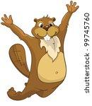 funny beaver isolated on white...   Shutterstock .eps vector #99745760
