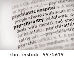 "Selective focus on the word ""psychiatry"". Many more word photos for you in my portfolio... - stock photo"