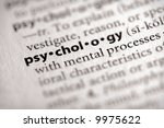 "Selective focus on the word ""psychology"". Many more word photos for you in my portfolio... - stock photo"